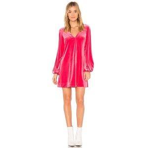 Hot Pink Velvet Free People Low V Dress